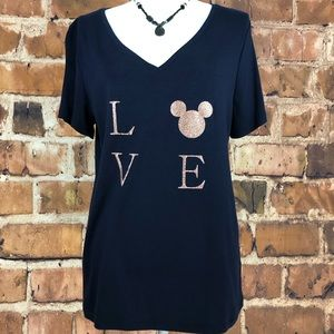 """Women's Mickey Mouse Bling """"Love"""" T-Shirt size XXL"""